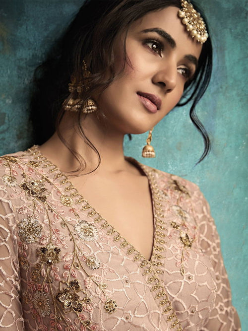 Baby Pink Copper Embroidered Designer Gharara Suit