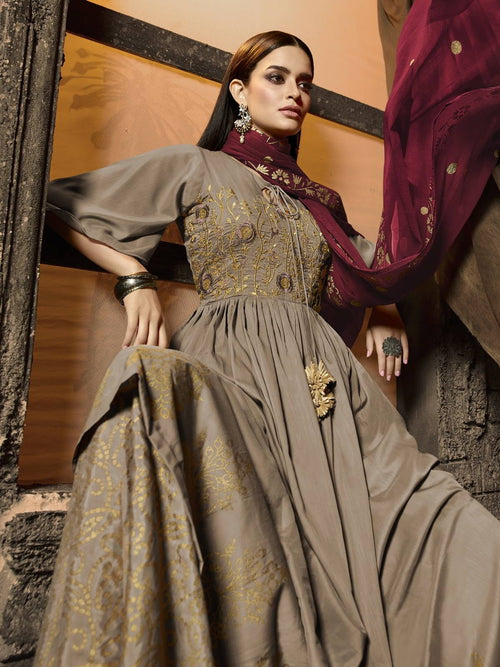 Golden And Maroon Pakistani Palazzo Suit