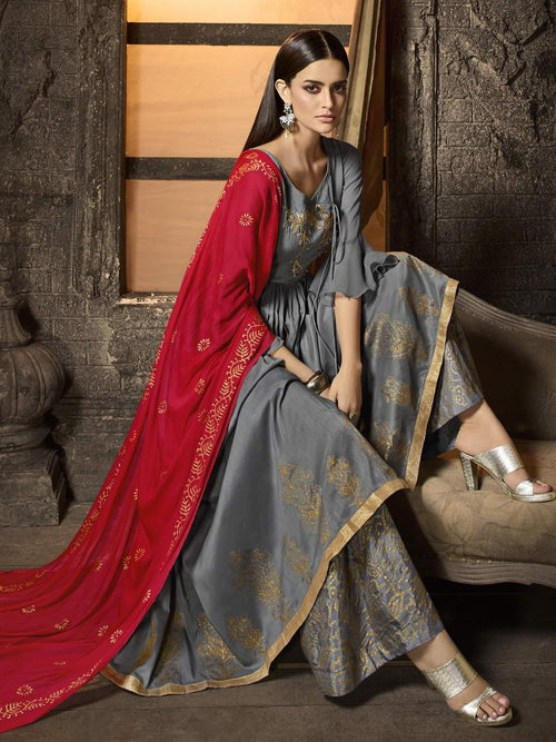 Grey And Red Pakistani Palazzo Suit