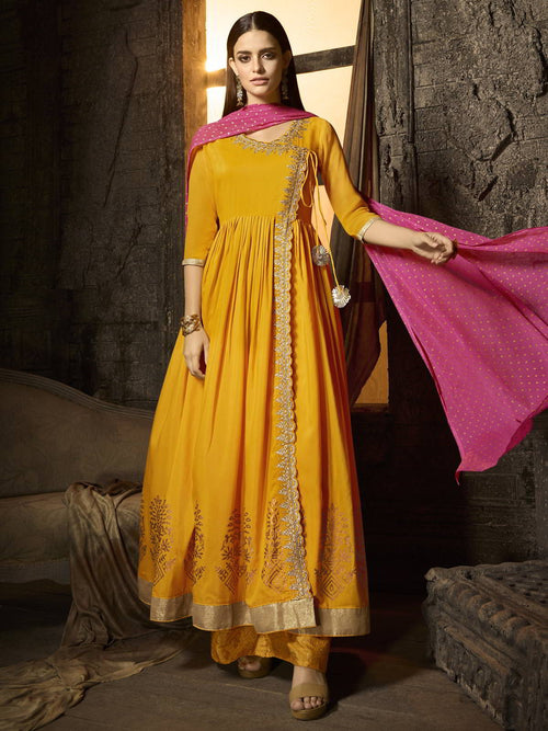 Yellow And Pink Pakistani Palazzo Suit