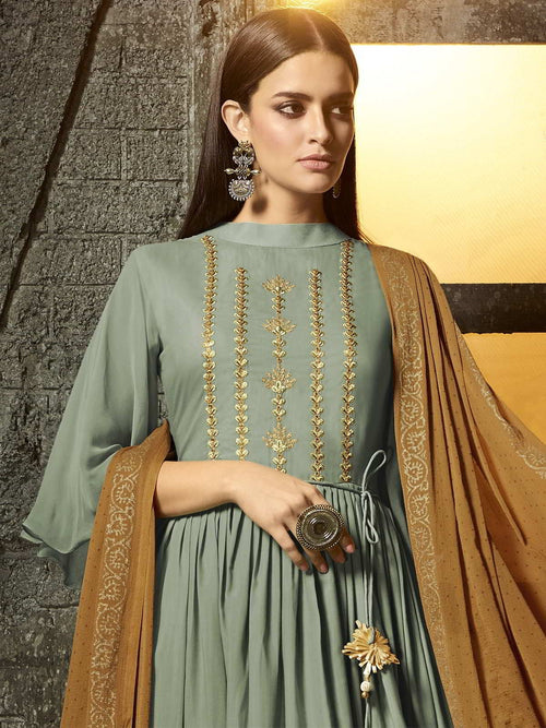 Teal And Golden Pakistani Palazzo Suit