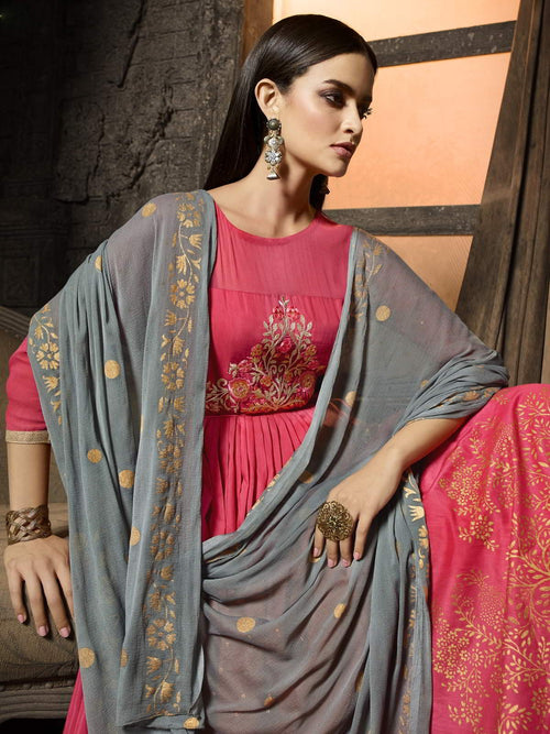 Pink And Grey Pakistani Palazzo Suit