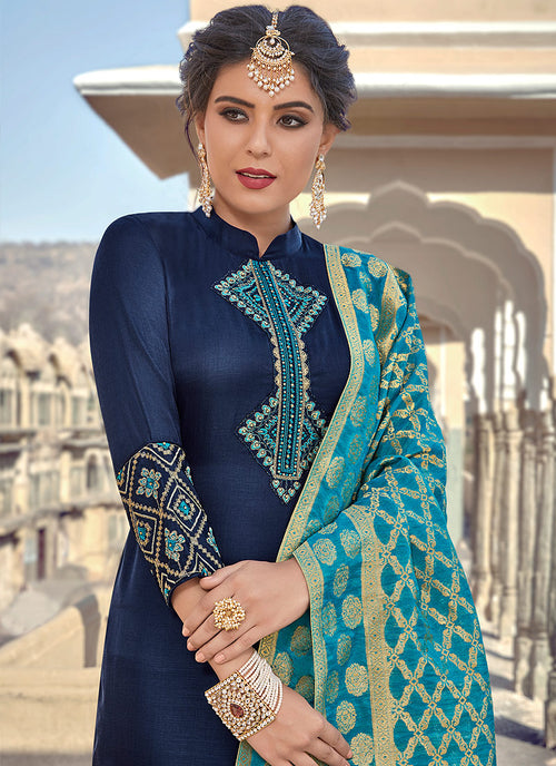 Navy Blue Embroidered With Banarasi Dupatta Pant Suit
