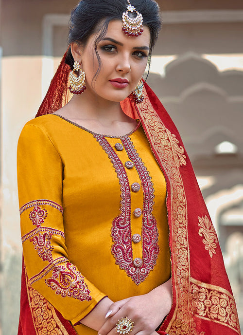 Yellow Embroidered With Banarasi Dupatta Pant Suit