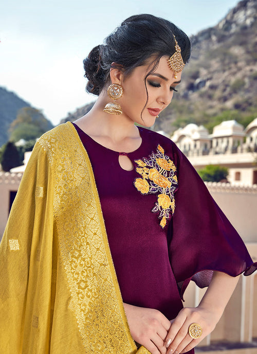 Maroon Embroidered With Banarasi Dupatta Pant Suit