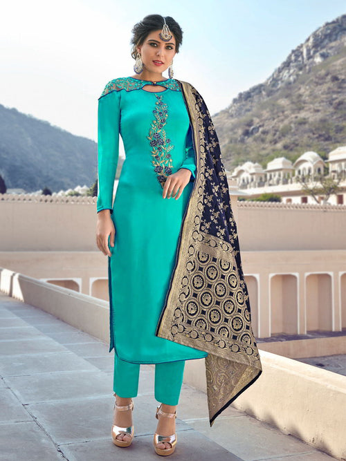Aqua Blue Embroidered With Banarasi Dupatta Pant Suit