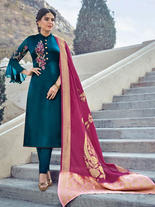 Turquoise Embroidered With Banarasi Dupatta Pant Suit