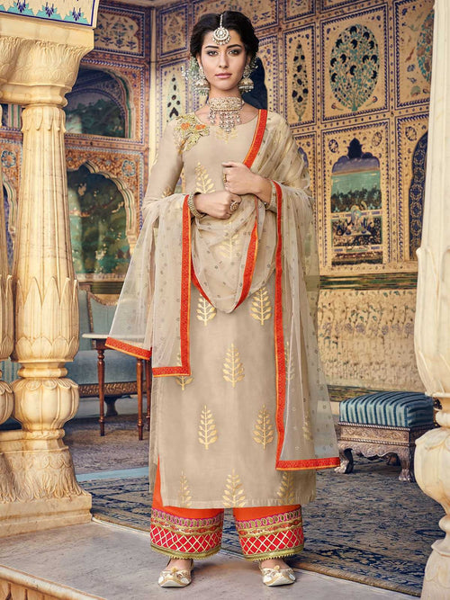 Beige And Orange Embroidered Palazzos Pant Suit