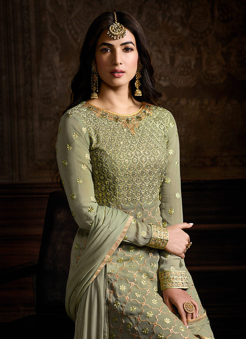 Light Green Embroidered Indo Western Style Sharara Suit, Salwar Kameez