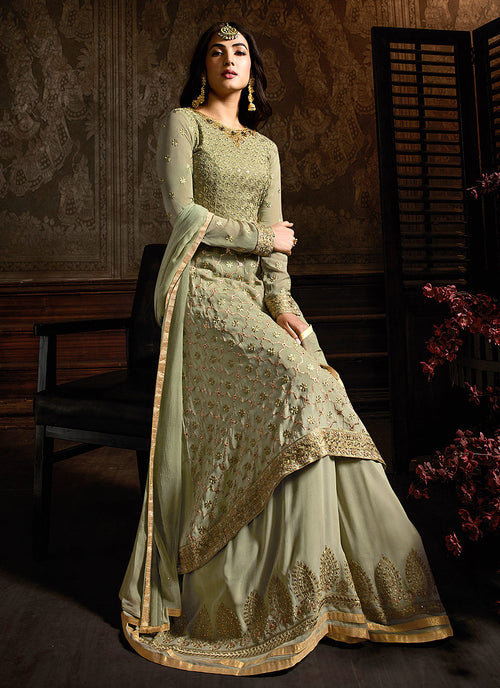 Light Green Embroidered Indo Western Style Sharara Suit