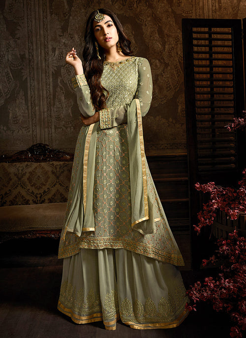 Indian Clothes - Light Green Embroidered Indo Western Style Sharara Suit