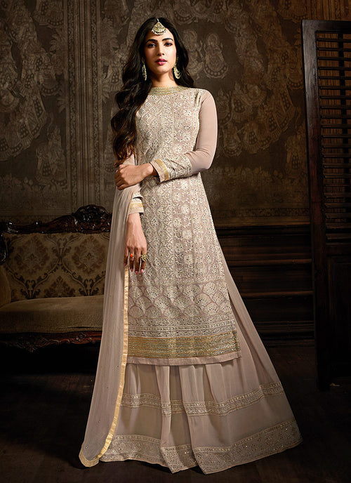Indian Clothes - Blush Pink Embroidered Indo Western Style Sharara Suit
