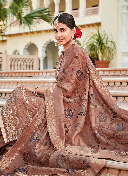 Peach Sequence Embroidered Palazzo Suit, Salwar Kameez