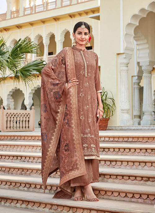 Indian Clothes - Peach Sequence Embroidered Palazzo Suit