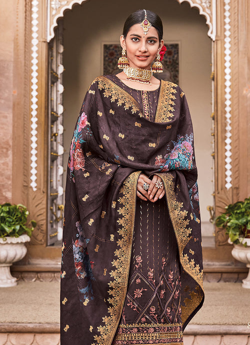 Deep mauve Sequence Embroidered Palazzo Suit, Salwar Kameez
