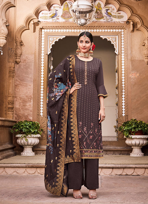 Indian Clothes - Deep mauve Sequence Embroidered Palazzo Suit