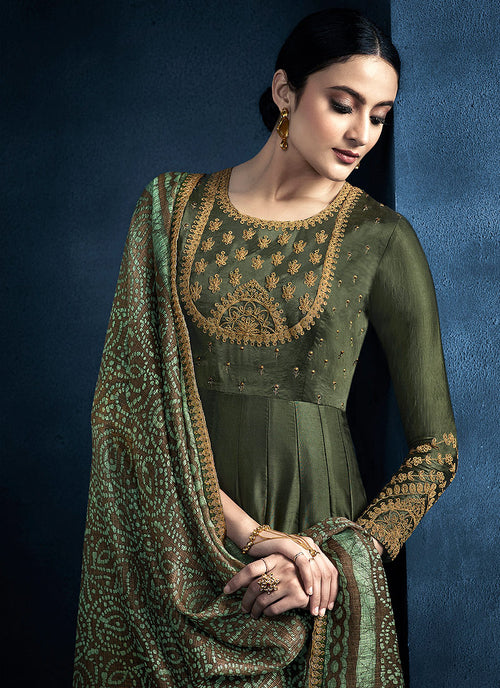 Indian Suits - Green Golden Anarkali Suit