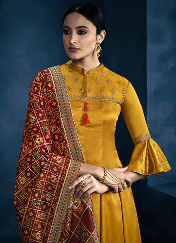 yellow and red multi embroidered anarkali palazzo suit