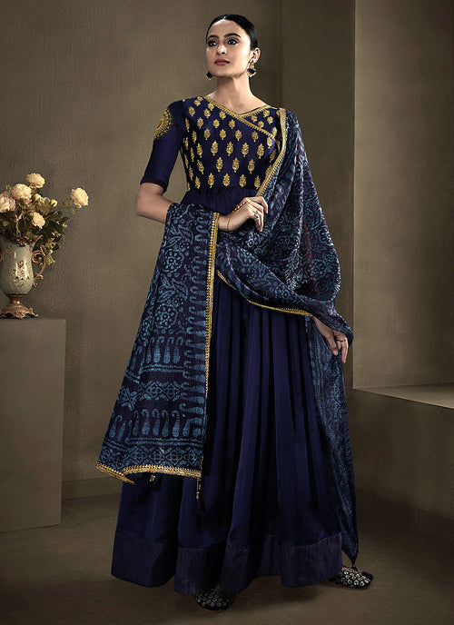 Indian Clothes - Navy Blue Golden Embroidered Anarkali Suit