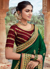 Indian Wedding Saree - Green And Maroon Multi Embroidered Saree