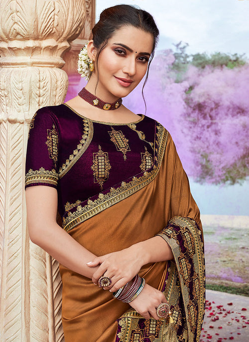 Indian Wedding Saree - Brown And Maroon Saree