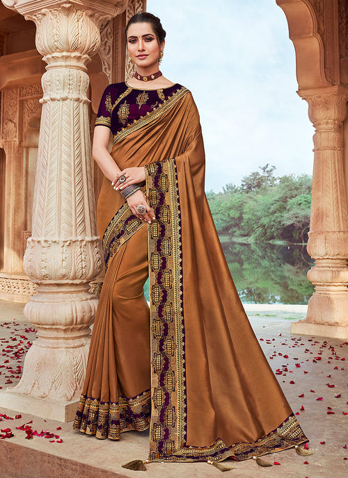 Brown And Maroon Embroidered Saree