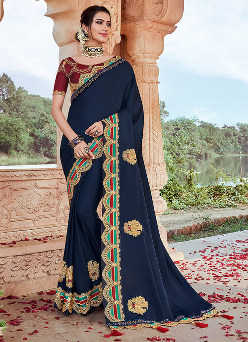 Blue And Red Embroidered Saree