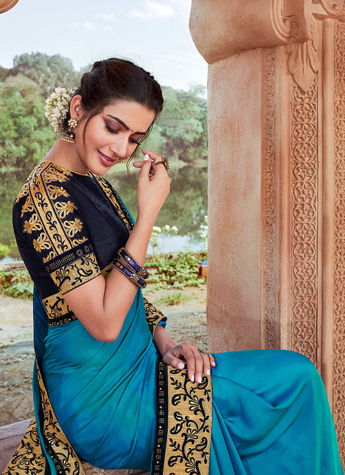 Indian Wedding Saree - Blue And Black Multi Embroidered Saree