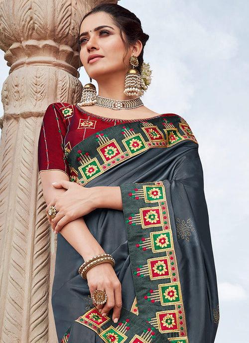 Indian Clothes - Slate Grey And Red Saree