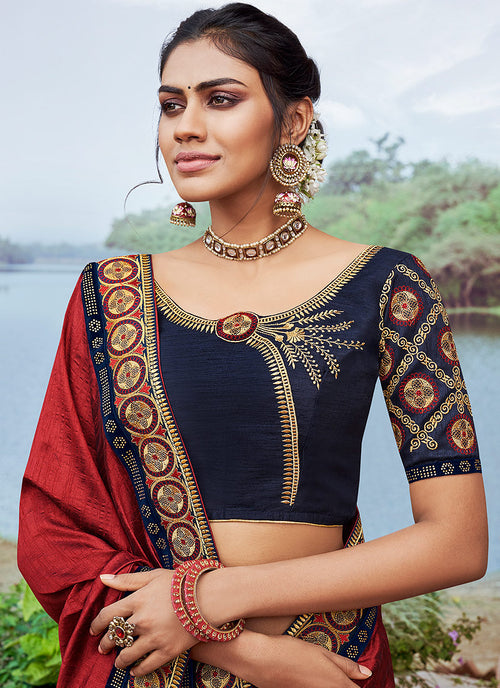 Indian Wedding Saree - Red And Black Multi Embroidered Saree