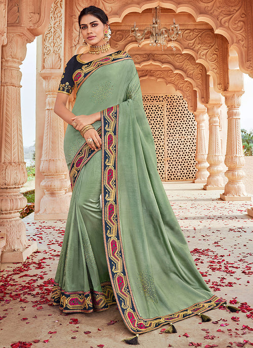 Mint Green Embroidered Saree
