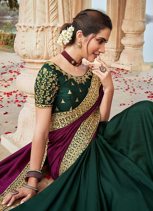 Indian Wedding Saree - Wine And Green Multi Embroidered Saree