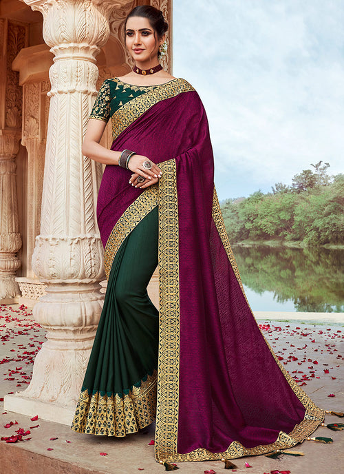Wine And Green Saree
