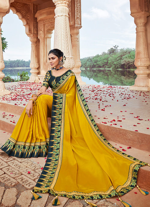 Indian Wedding Saree - Yellow And Green Multi Embroidered Saree
