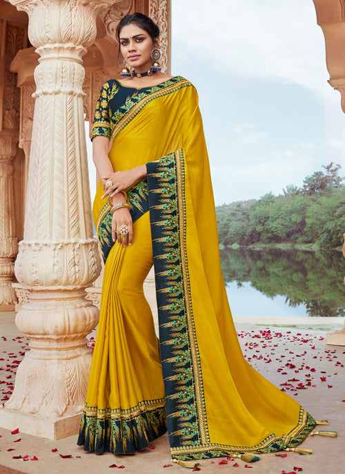 Yellow And Green Saree