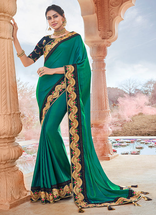 Turquoise And Blue Saree