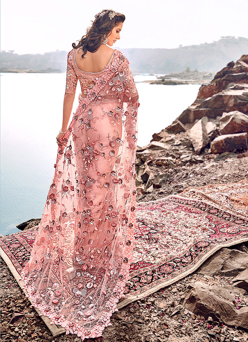 Buy Indian Baby Pink Floral Embroidered Party Wear Saree For Women Online In Usa Uk Canada Australia Germany New Zealand And Worldwide At Best Prices