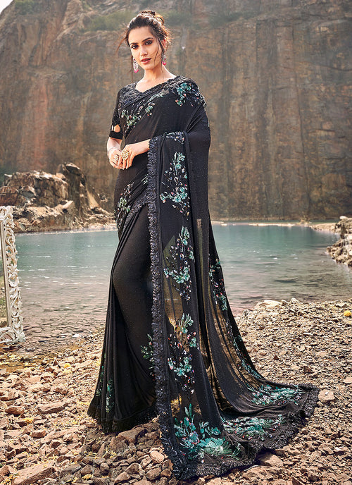 Black And Blue Floral Embroidered Party Wear Saree