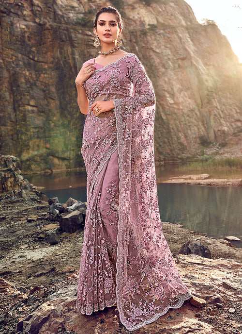 Floral Embroidered Party Wear Saree