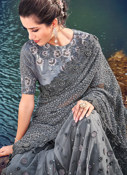 Dark Grey Embossed Embroidered Party Wear Saree