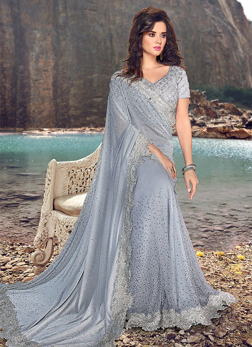 Light Blue Zari Embroidered Party Wear Saree