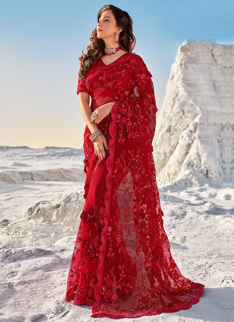 Bridal Red Floral Embroidered Indian Wedding Saree