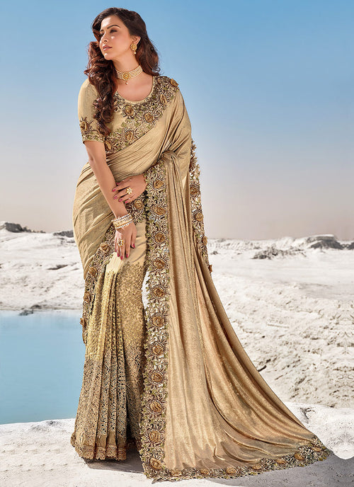 Golden Brown Floral Embroidered Indian Wedding Saree