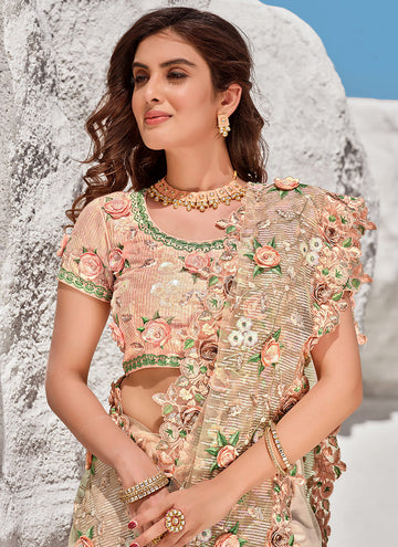 Soft Peach Floral Embroidered Indian Wedding Saree