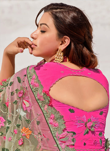 Mint Green and Pink Floral Embroidered Net Saree