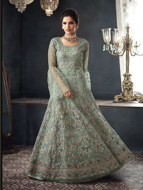 Sea Blue Party Wear Net Anarkali Suit