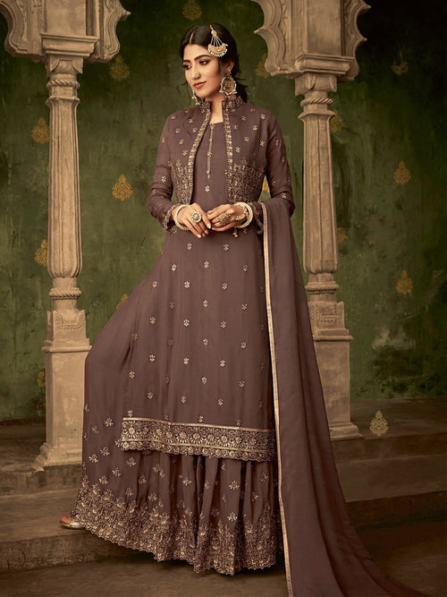 Deep Brown Golden Koti Style Georgette Gharara Suit