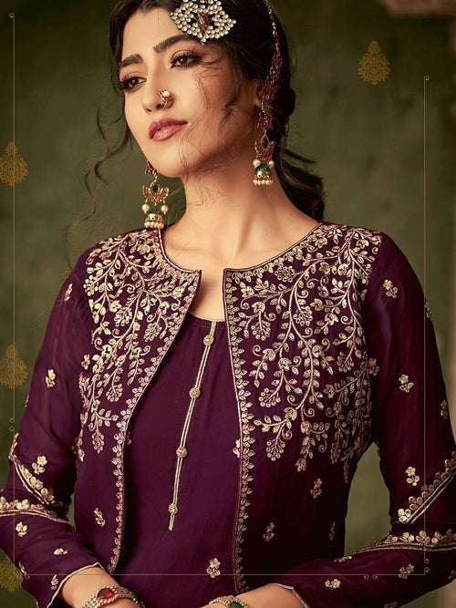 Deep Purple Golden Koti Style Georgette Gharara Suit