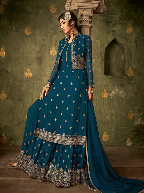Turquoise Golden Koti Style Georgette Gharara Suit