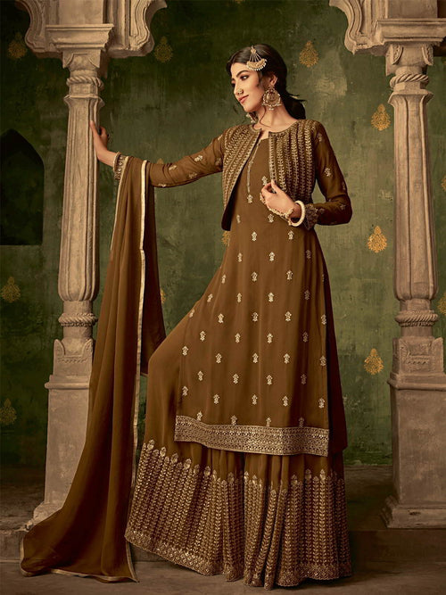 Olive Golden Koti Style Georgette Gharara Suit